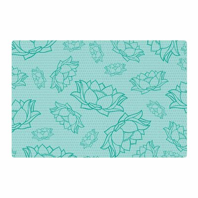 Lotus Pattern Yoga Flowers Teal Area Rug Rug Size: 2 x 3