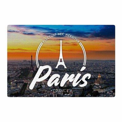 Paris Travel Blue Area Rug Rug Size: 4 x 6