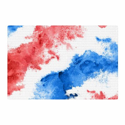 Patriotic Watercolor Red/White Area Rug Rug Size: 4 x 6