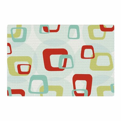Retro Squares Red/Teal Area Rug Rug Size: 4 x 6