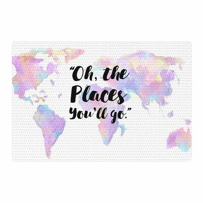The Places Youll Go Purple/Yellow Area Rug Rug Size: 4 x 6