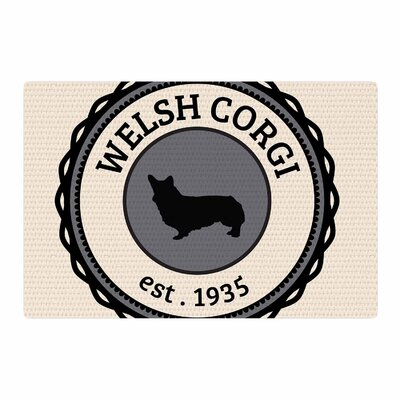 Welsh Corgi Dog Beige Area Rug Rug Size: 4 x 6