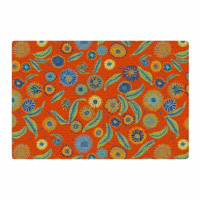 Laura Nicholson Asters on Scarlet Floral Orange Area Rug Rug Size: 2 x 3