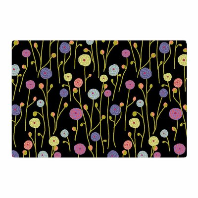 Laura Nicholson Ranunculus on Black Floral Yellow Area Rug Rug Size: 4 x 6