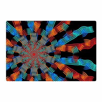 Laura Nicholson Ribbon Ring Abstract Black Area Rug Rug Size: 2 x 3