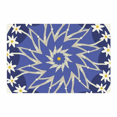 Laura Nicholson Sawtooth Flower Blue/Nature Area Rug Rug Size: 2 x 3