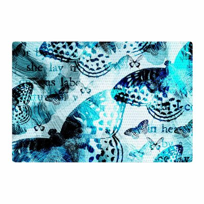 Li Zamperini Butterfly Abstract Blue/Black Area Rug Rug Size: 4 x 6