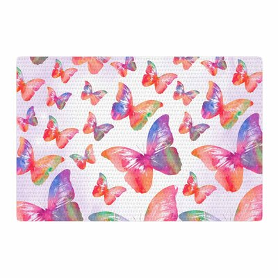 Li Zamperini Butterfly Pink/Lavender Area Rug Rug Size: 2 x 3