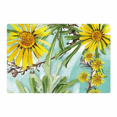 Liz Perez Sunny Day Floral Yellow Area Rug Rug Size: 2 x 3