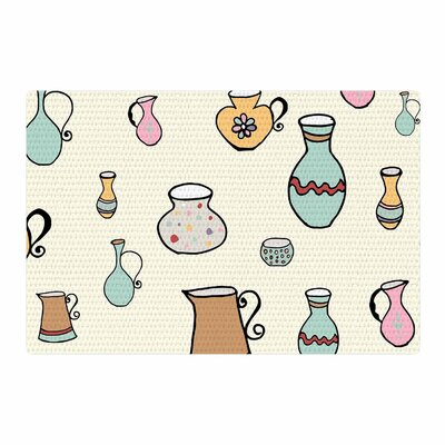Louise Jugs Pattern Pastel Area Rug Rug Size: 2 x 3