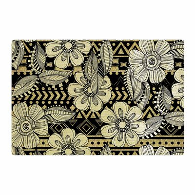 Louise Machado Ink Floral Black Area Rug Rug Size: 2 x 3