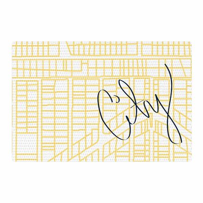 Love Midge City Streets And Parcel Maps Travel Yellow Area Rug Rug Size: 4' x 6'