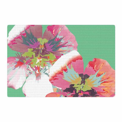 Love Midge Graphic Flower Nasturtium Mint Green/Magenta Area Rug Rug Size: 2 x 3
