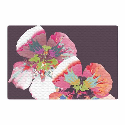 Love Midge Graphic Flower Nasturtium Floral Lavender Area Rug Rug Size: 2 x 3