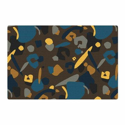 Luvprintz Abstract Leopard Teal/Brown Area Rug Rug Size: 2' x 3'