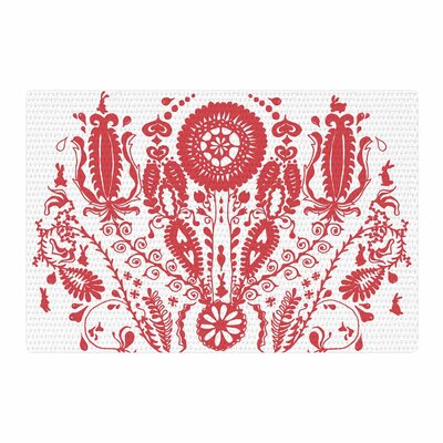 Luvprintz Flower Red/White Area Rug Rug Size: 4' x 6'