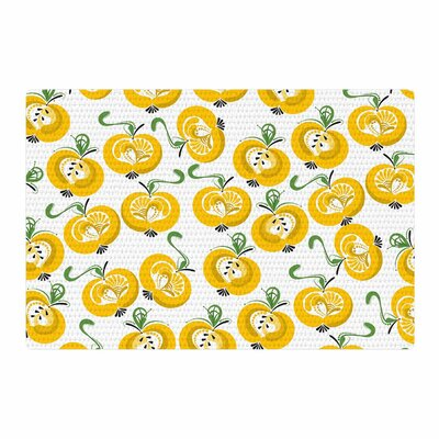 Maria Bazarova Apple Food Yellow Area Rug Rug Size: 2 x 3
