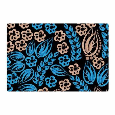 Maria Bazarova Flowers Blue/Black Area Rug Rug Size: 2 x 3