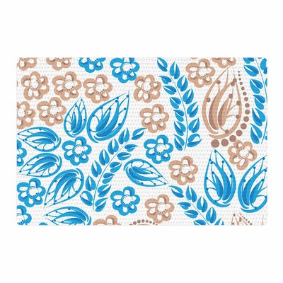 Maria Bazarova Flowers Abstract Beige/Blue/White Area Rug Rug Size: 4 x 6