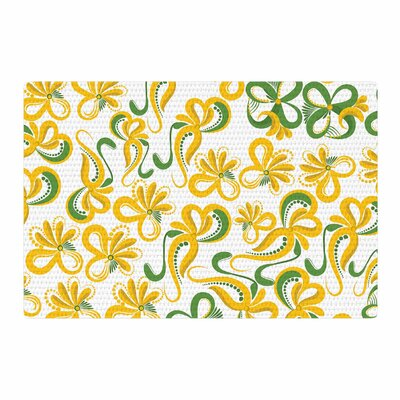 Maria Bazarova Flowers Abstract Digital Green/Yellow Area Rug Rug Size: 4 x 6