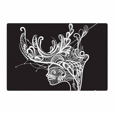 Maria Bazarova Horned Woman Black/White Area Rug Rug Size: 2 x 3