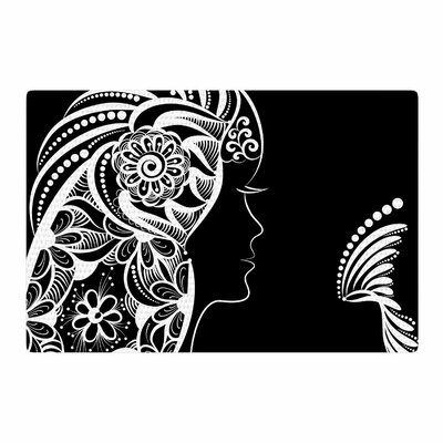 Maria Bazarova Horoscope Virgin White/Black Area Rug Rug Size: 2 x 3