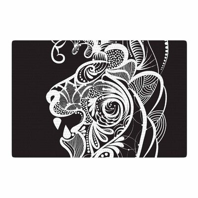 Maria Bazarova Kind Lion Black/White Area Rug Rug Size: 4 x 6