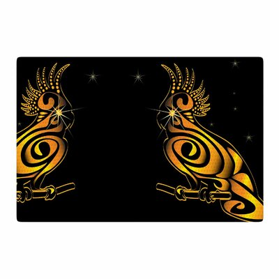 Maria Bazarova Parrot Gold/Black Area Rug Rug Size: 2 x 3