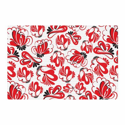 Maria Bazarova Flowers Red/Black Area Rug Rug Size: 2 x 3