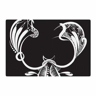 Maria Bazarova Scorpio Time Black/White Area Rug Rug Size: 2 x 3