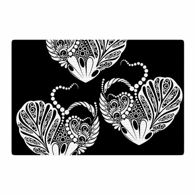 Maria Bazarova Three Hearts Black/White Area Rug Rug Size: 2 x 3