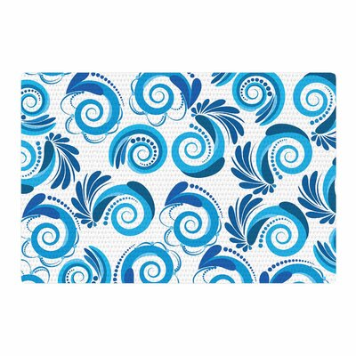 Maria Bazarova Waves White/Blue Area Rug Rug Size: 4 x 6