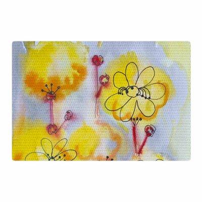 Maria Bazarova Flowers Blue/Pink/Yellow Area Rug Rug Size: 4 x 6