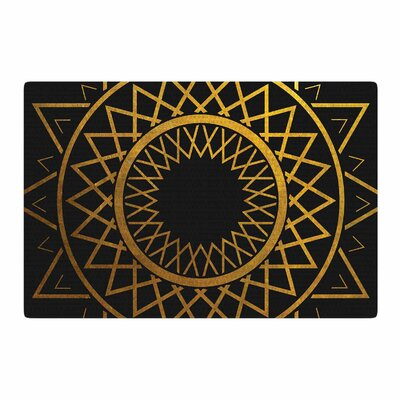Matt Eklund Gilded Sundial Gold/Black Area Rug Rug Size: 2 x 3