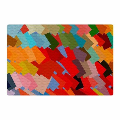 Matthias Hennig Playful Rectangles Red/Orange Area Rug Rug Size: 2 x 3