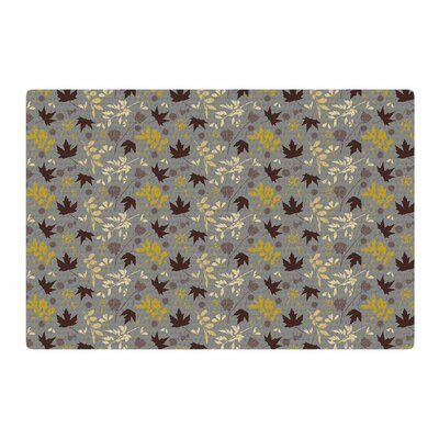 Mayacoa Studio Fall Leaves Floral Gray Area Rug Rug Size: 2 x 3