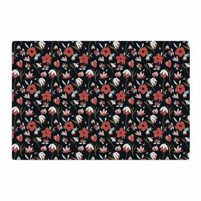 Mayacoa Studio Floral Field Floral Black Area Rug Rug Size: 4 x 6