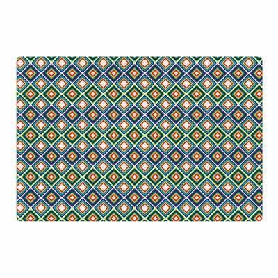 Nandita Singh Bright Squares Pattern Green/Blue Area Rug Rug Size: 2 x 3