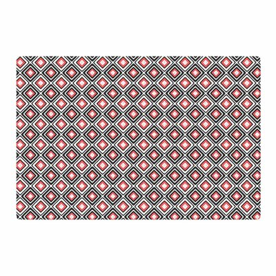Nandita Singh Bright Squares Pattern Coral/Black Area Rug Rug Size: 2 x 3
