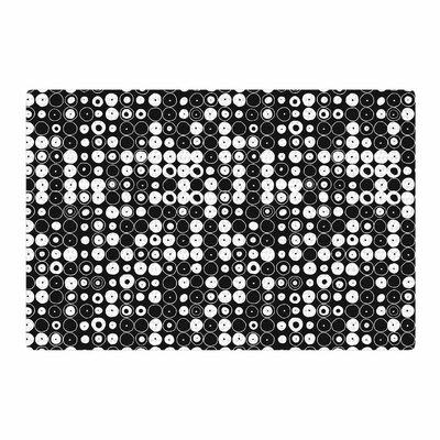 Nandita Singh White & Funny Polka Dots Abstract Black Area Rug Rug Size: 4 x 6
