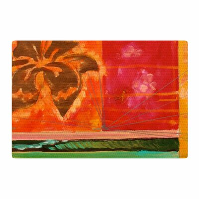 Nathan Gibbs Destination: She Surfs Floral Orange Area Rug Rug Size: 2 x 3