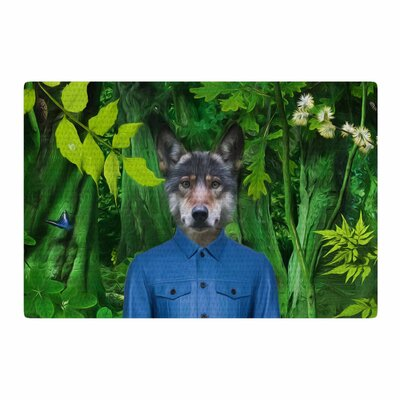 Natt into the Leaves N3 Wolf Green Area Rug Rug Size: 4 x 6