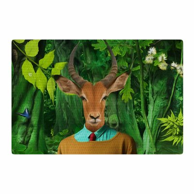Natt into the Leaves N4 Antelope Green Area Rug Rug Size: 4 x 6