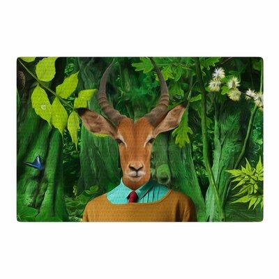 Natt into the Leaves N4 Antelope Green Area Rug Rug Size: 2 x 3