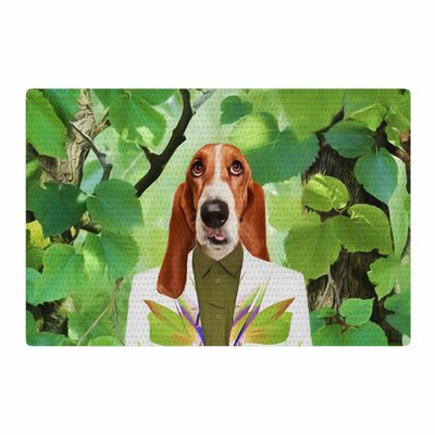 Natt into the Leaves N6 Dog Green Area Rug Rug Size: 2 x 3