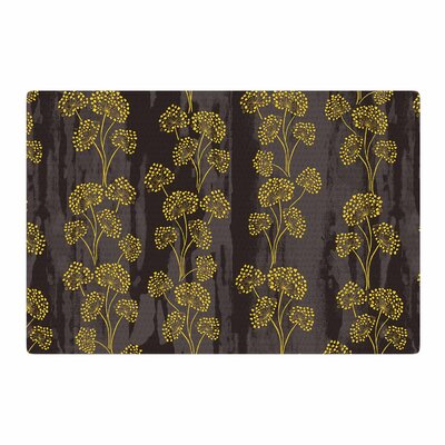 Neelam Kaur Textured Floral Elegance Brown/Yellow Area Rug Rug Size: 2 x 3
