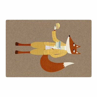 Nic Squirrell Mr. Fox Takes Tea Animals Tan Area Rug Rug Size: 4 x 6
