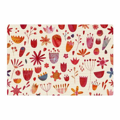 Nic Squirrell Spring Flowers Pink/Red Area Rug Rug Size: 2 x 3