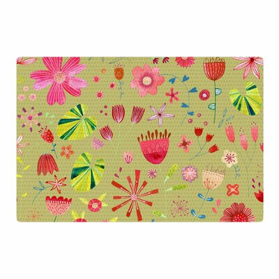 Nic Squirrell Wild Meadow Floral Digital Illustration Olive/Pink/Red Area Rug Rug Size: 2 x 3