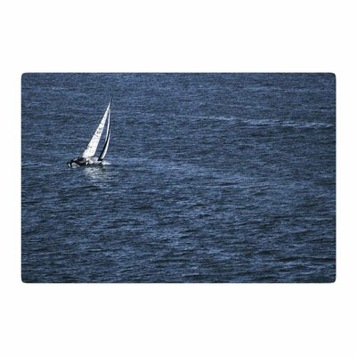 Nick Nareshni Boat on the Ocean Blue Area Rug Rug Size: 4 x 6